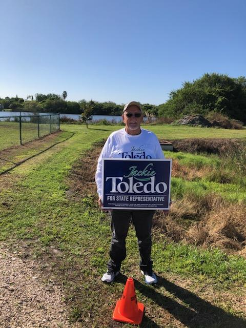 Wade Mullins campaigns for Jackie Toledo, November 3, 2020